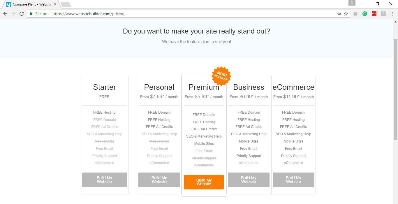 Websitebuilder Pricing